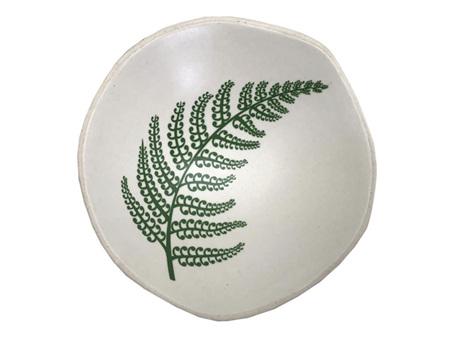 Jo Luping Design Green Fern on White Porcelain 7cm Bowl