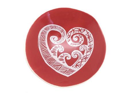 Jo Luping Design White Aroha on Red 7cm Porcelain Bowl