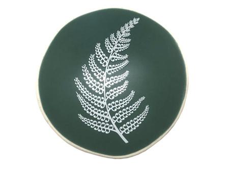 Jo Luping Design White Fern on Green Porcelain 7cm Bowl
