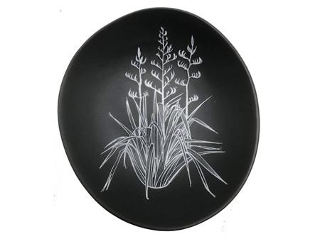 Jo Luping Design White Harakeke on Grey 10cm Bowl