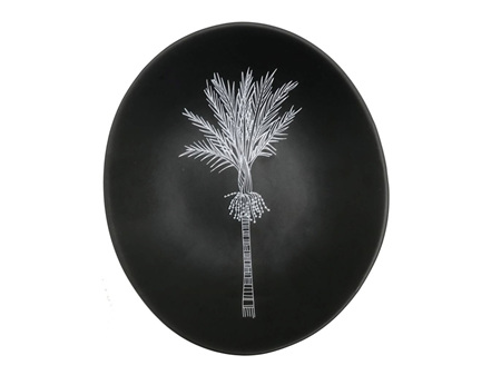 Jo Luping Small Grey Bowl with White Nikau 10cm