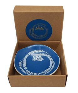 Jo Luping White Kowhai on Blue 7cm