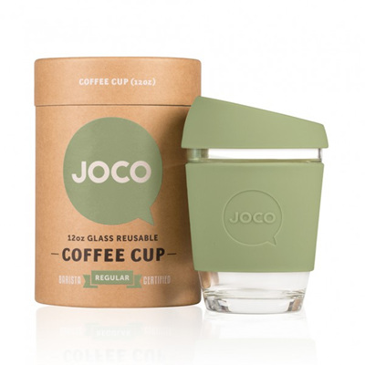 Joco Glass Travel Cup Army Green  355 or 475 mls
