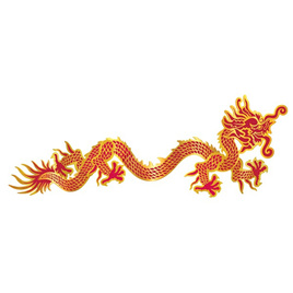 Jointed dragon 92cm red and gold