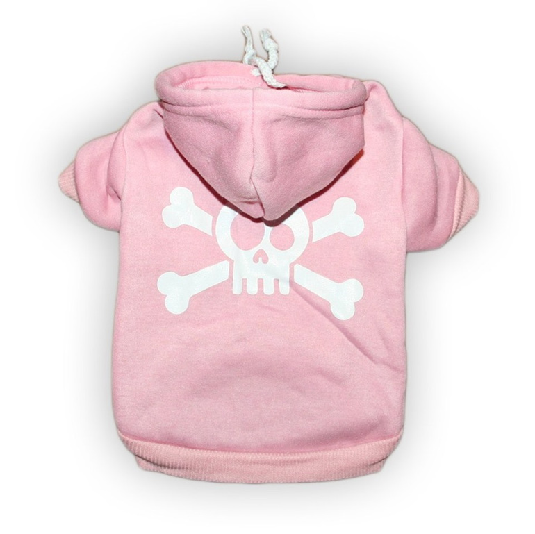 Jolly roger baby pink brushed cotton warm dog hoodie