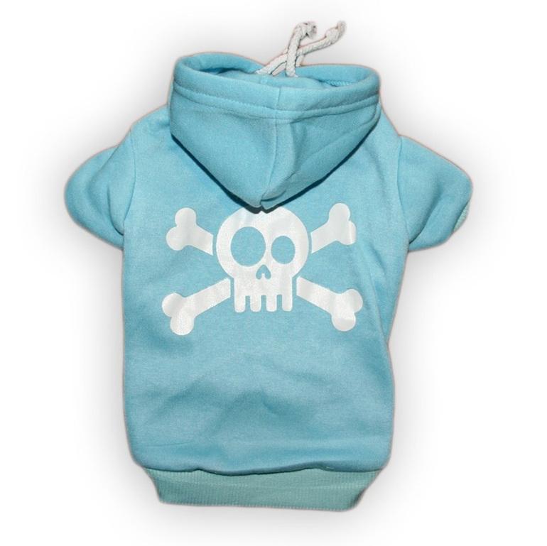 jolly roger blue cotton dog hoodie skull and cross bones
