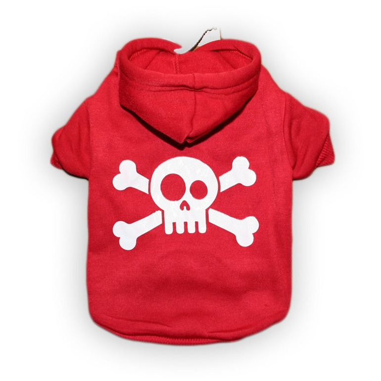 jolly roger red cotton dog hoodie\