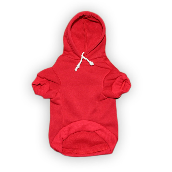 jolly roger red cotton dog hoodie with skull and cross bones