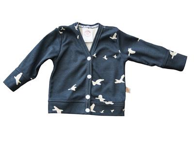 'Jordan' Cardigan, 'Flight, Dusk' GOTS Organic Cotton, 3-6m