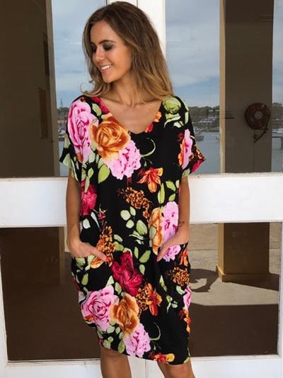 Joyce Pocket Dress - Black floral