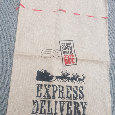Jute Christmas Sack with Printing - Express Delivery