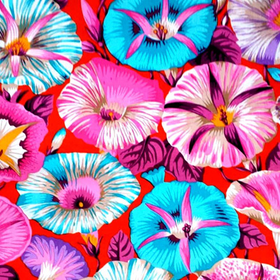 Kaffe Fassett Collective - Variegated Morning Glory Red