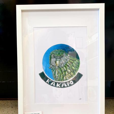 Kakapo A4 Print Framed