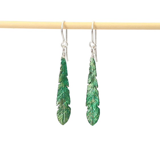 kakariki green emerald feather earrings bird native nz sterling silver