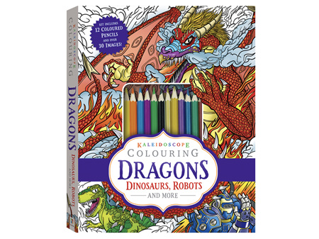 Kaleidoscope Colouring Kit: Dragons Dinosaurs Robots and More