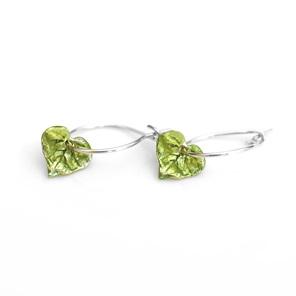 kawakawa leaf hoop earrings sterling silver painted green nature