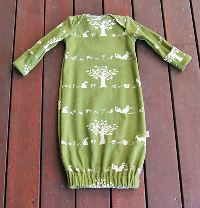 'Keegan' Sleepsack with fold-over mittens, 'Forest Friends' GOTS Organic Cotton Knit, 0-3 months