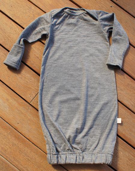 'Keegan' Sleepsack with fold-over mittens, 'Slate' 100% NZ Merino, 0-3 months