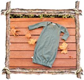 'Keegan' Sleepsack with folder-over mittens, 'Aniseed' 10% NZ Merino, 0-3 months