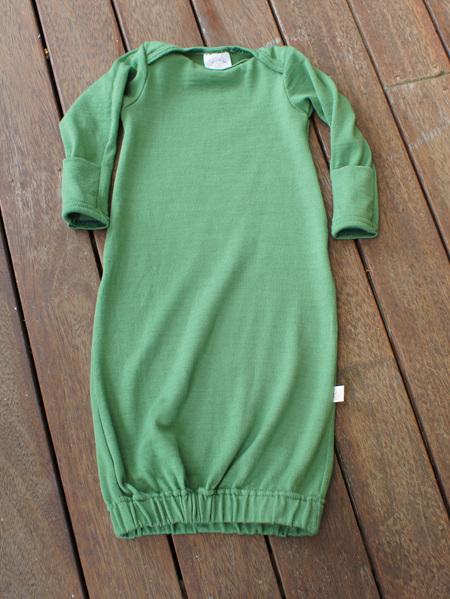 'Keegan' Sleepsack with folder-over mittens, 'Apple' 100% NZ Merino, 0-3 months