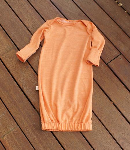 'Keegan' Sleepsack with mittens in 50/50 Merino/Cotton ,'Sunset', 0-3m