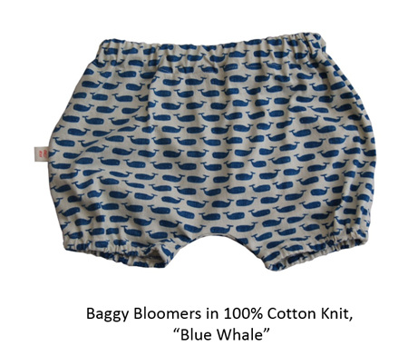 'Kensley' Bloomers, 'Blue Whale' 100% Cotton Knit, 0-3 months