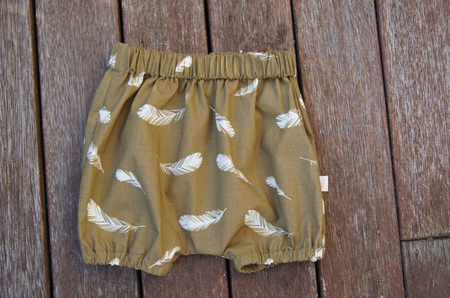 'Kensley' Bloomers, 'Feathers, Olive' 100% GOTS Organic Cotton, 6-9 months