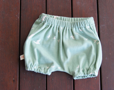 'Kensley' Bloomers, 'Flight Mint' GOTS Organic Cotton Knit, 3-6m