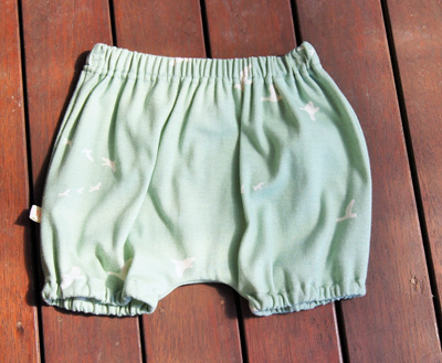 'Kensley' Bloomers, 'Flight Mint' GOTS Organic Cotton knit, 18m