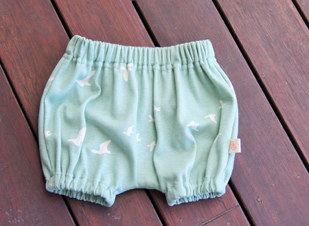 'Kensley' Bloomers, 'Flight Mint' GOTS Organic Knit Cotton, 0-3m