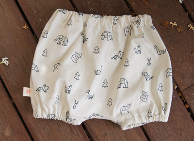 """Kensley"" Bloomers, 'Geo Animals, White' 100% Cotton Knit, 0-3 mths"