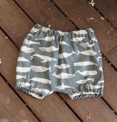 """""""Kensley"""" Bloomers, 'Kujira' GOTS Organic Cotton Knit, 3-6m"""