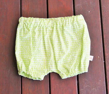 'Kensley' Bloomers, 'Scribble Green' 1005 cotton, 3-6m
