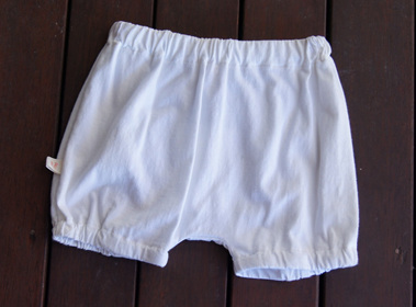 'Kensley' Bloomers, White, GOTS Organic Cotton Knit, 1 year