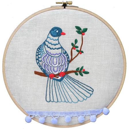 kereru embroidery kit