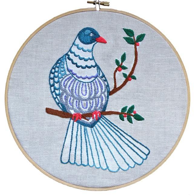 kereru embroidery pattern