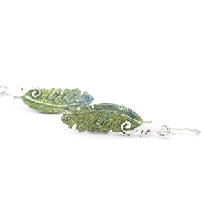 kereru feather green blue pigeon koru white sterling silver native nz earrings