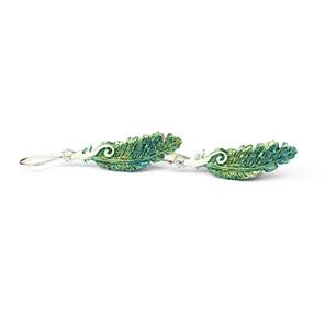 kereru feather green gold blue white koru native wood pigeon sterling earrings