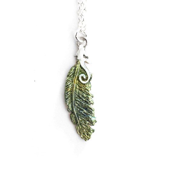 kereru feather green gold blue white koru native wood pigeon sterling necklace