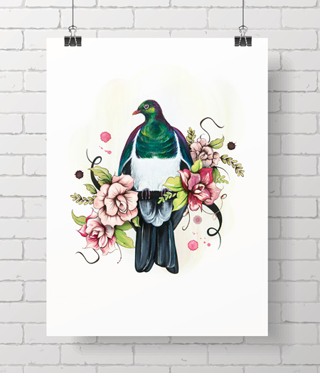 Kereru on A3 - just one at this price