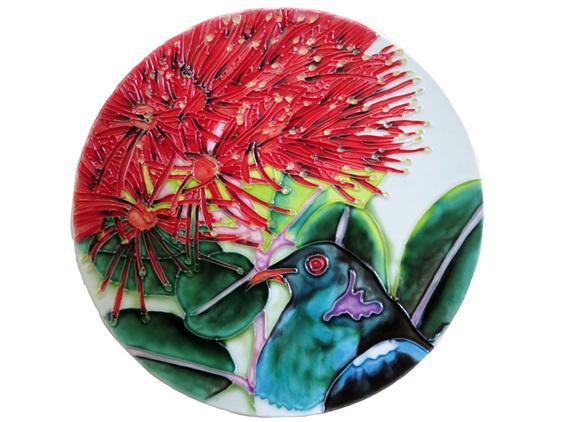 Kereru or NZ Woodpigeon in Pohutukawa flowers