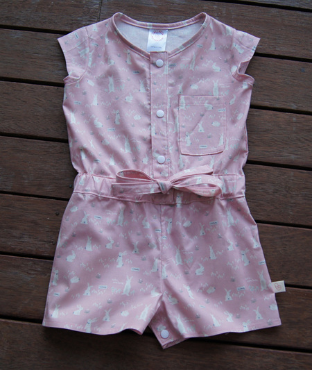 'Kerry' Jumpsuit, 'Hello Bunny, Pink' 100% Cotton, 2 years