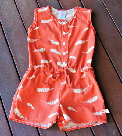 'Kerry' Jumpsuit, snap crotch, 'Feathers Coral' GOTS Organic Cotton, 3 years