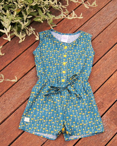 'Kerry' Jumpsuit, 'Tulips' 100% Cotton, 2 years