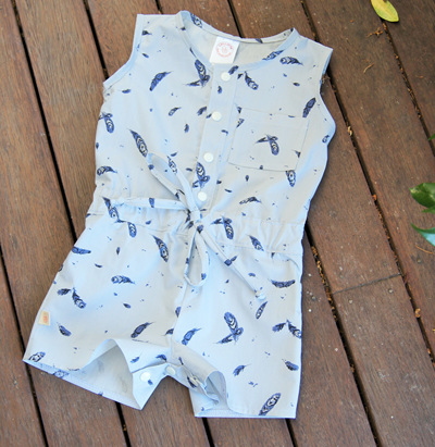 """Kerry"" Jumpsuit with crotch snaps, 'Feather Fall' GOTS Organic Cotton, 2 yrs"