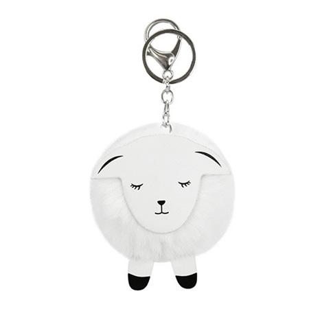 Key Ring PomPom Sheep White