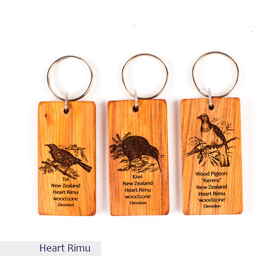key ring with engraved bird - rimu