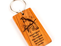 key ring with engraved wood pigeon bird - rimu