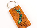 key ring with paua map - rimu