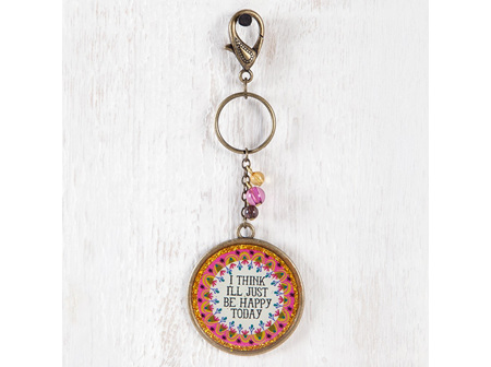 Keychain With Beads-I Think Ill Be Happy
